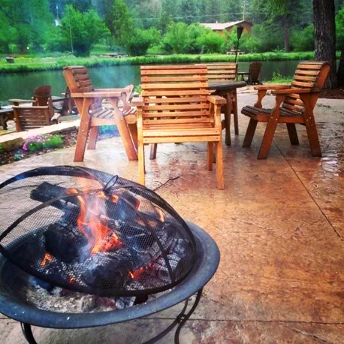 A fire and coffee in Estes Park