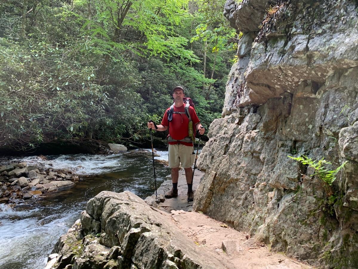 Scott on a sketchy trail below Laurel Falls