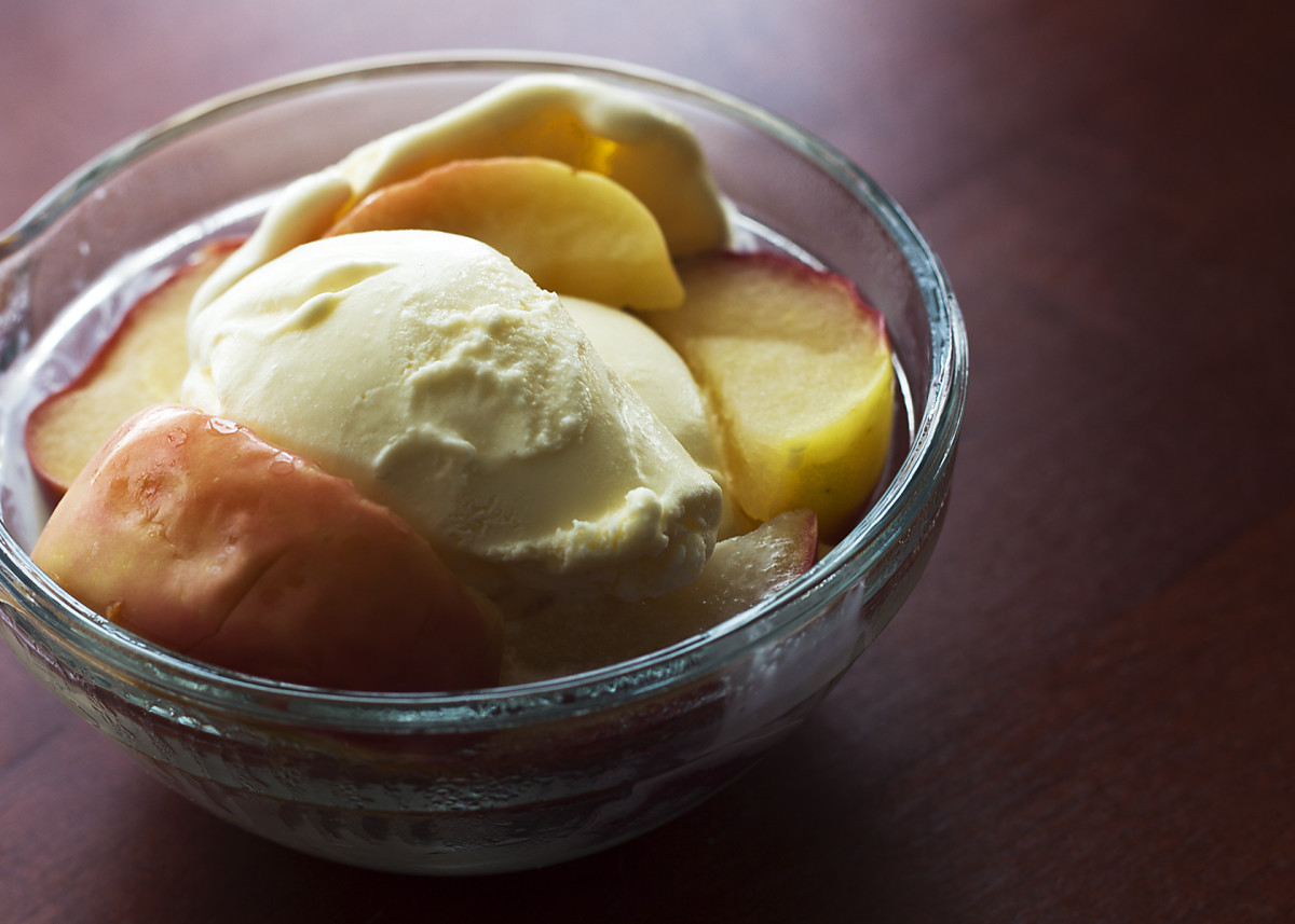 Warm the apple and/or banana and pour over the ice cream. Yum!