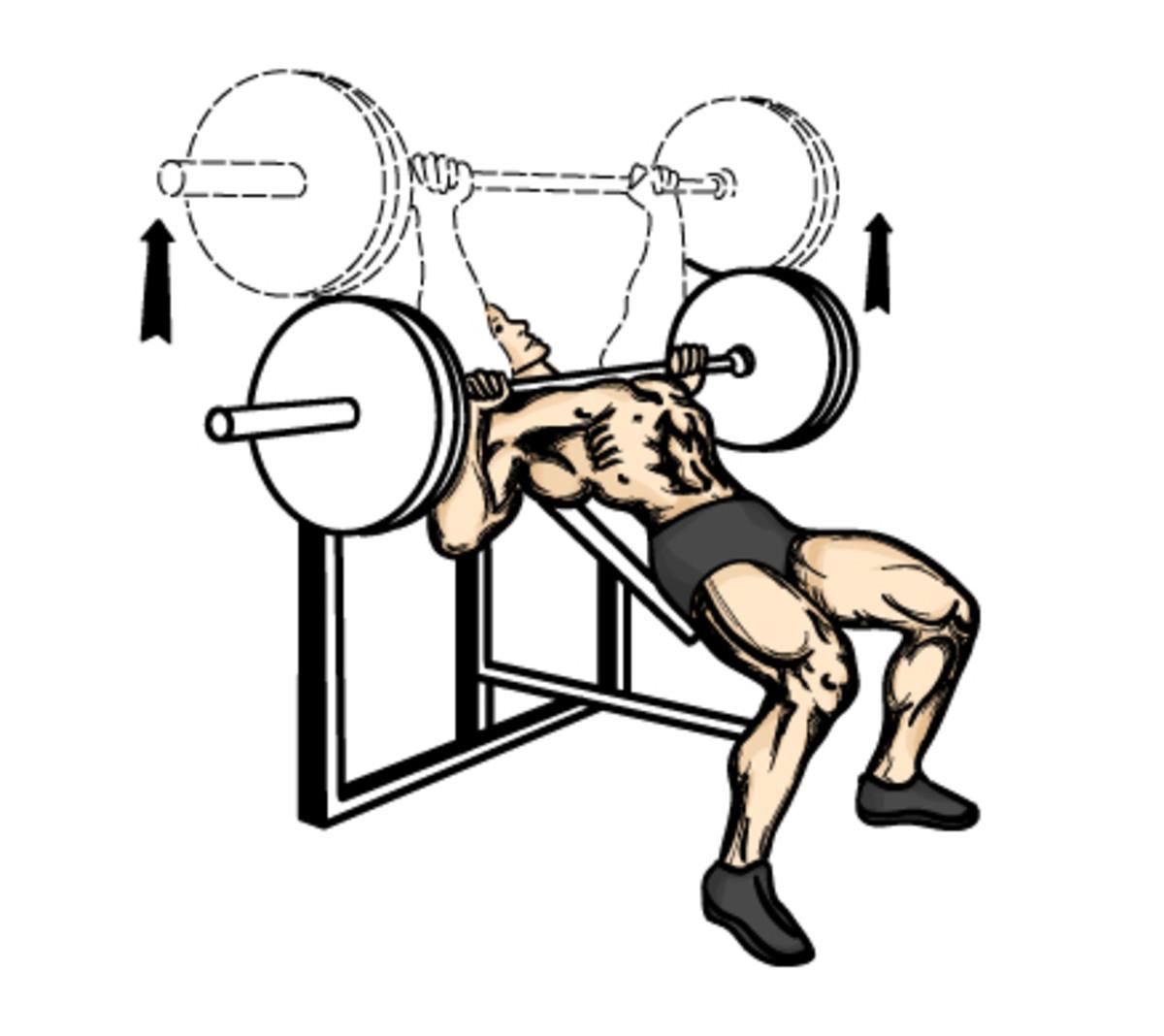 Proper incline bench press technique.