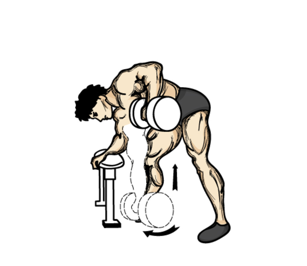 Proper dumbbell row technique.