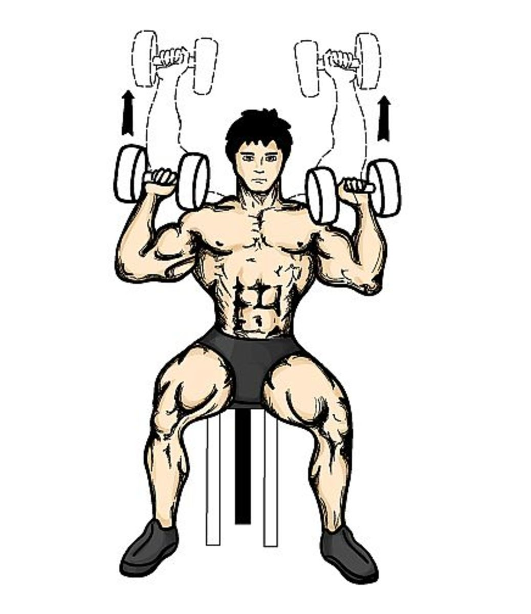 Proper dumbbell shoulder press technique.