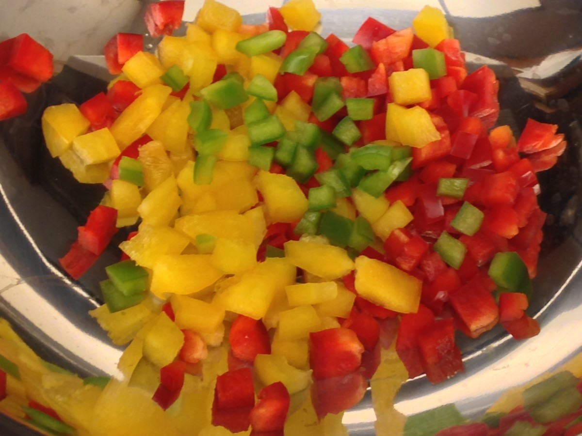Red, Green, and Yellow Bell Peppers, a good source of Vitamin C
