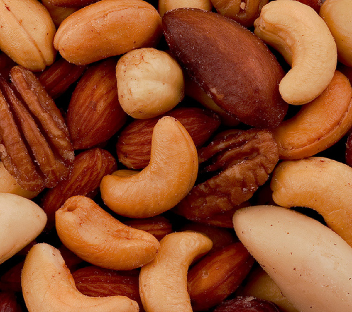 Mixed nuts- pecans, cashews, Brazil nuts, a good source of Vitamin E