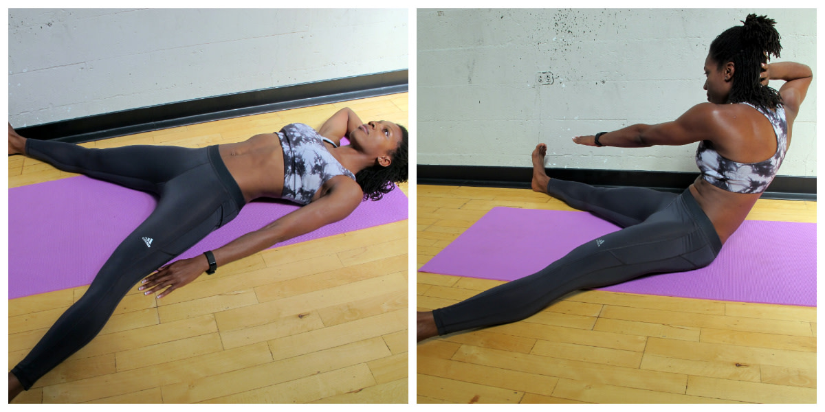 Wide-leg sit-up.