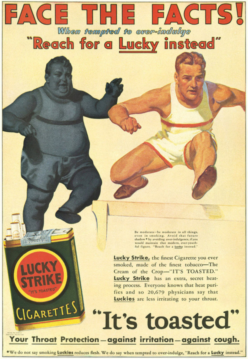 A vintage cigarette ad recommends smoking as a way to lose weight