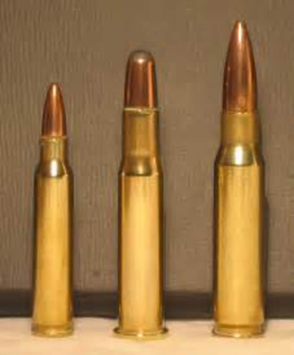 The venerable .30-30 (center) is author's pick for medium game at short range.