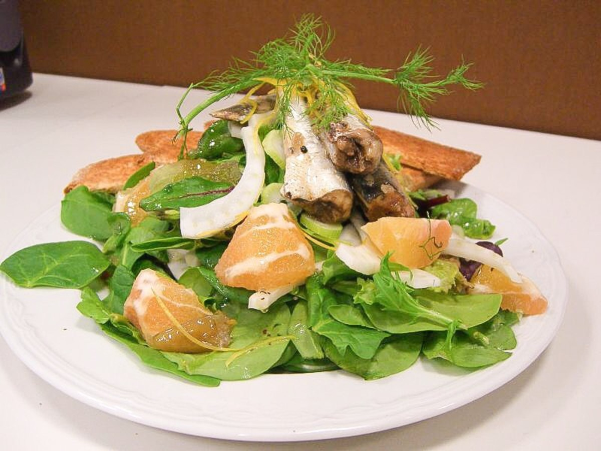 Sardine, grapefruit and fennel salad; sardines contain omega-3 fatty acids and vitamin D.