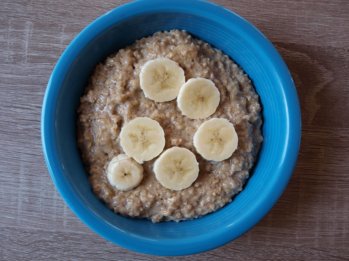 Steel-cut oats with bananas and almond butter.