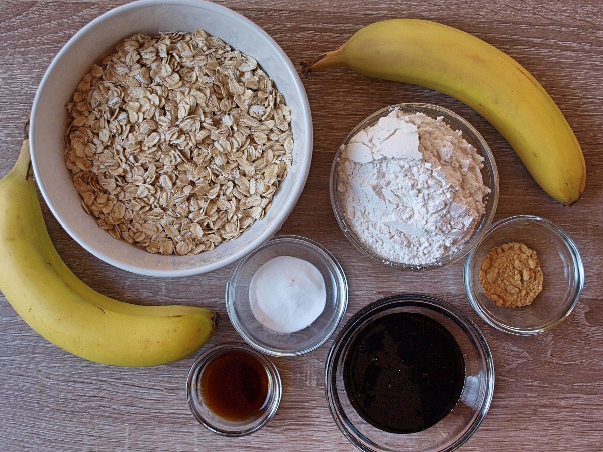 Ingredients for oatmeal ginger cookies.