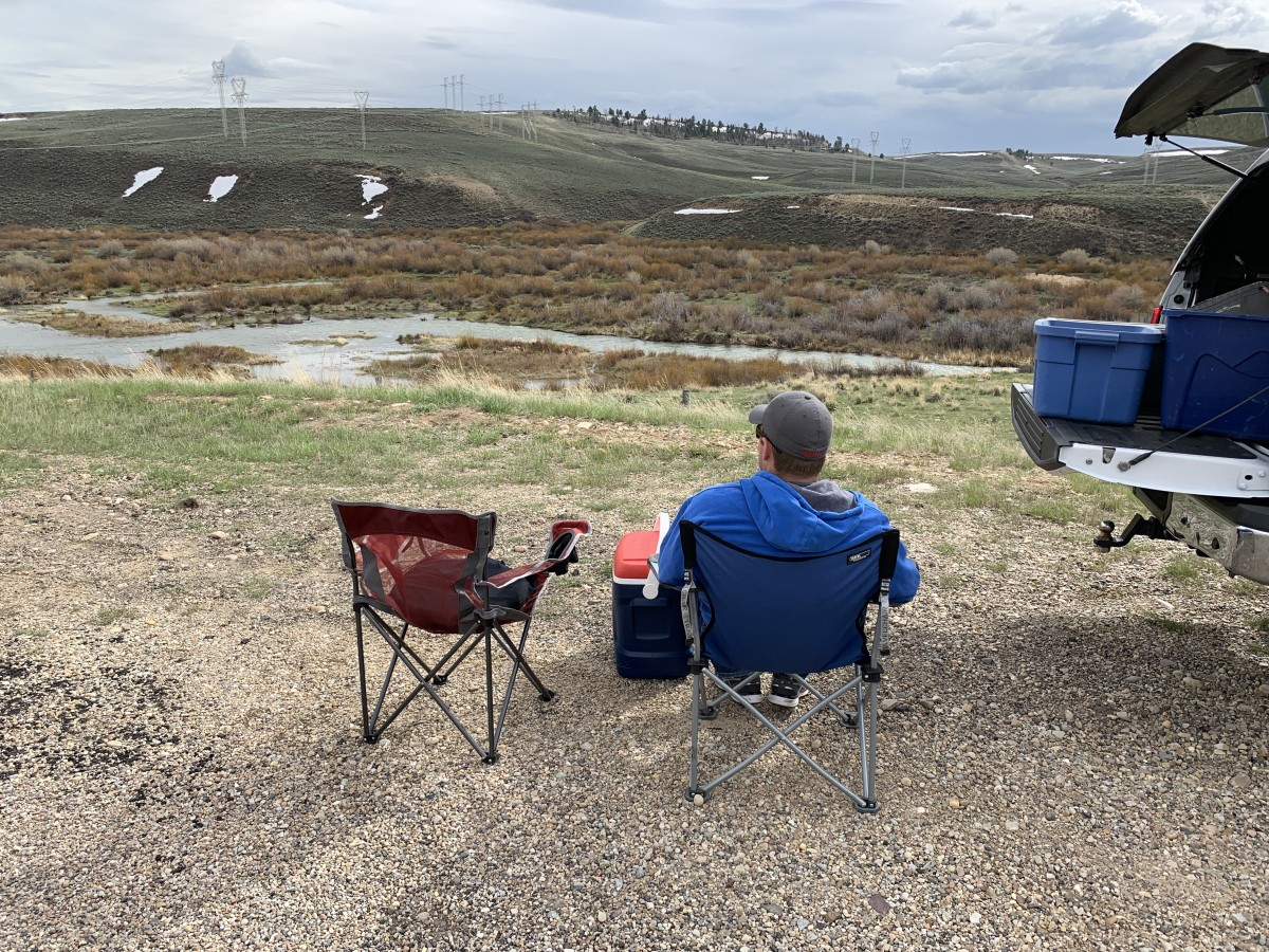 Taking in the landscape during a lunch break above the Ham's Fork valley, in late May. Yes, that is snow in the hills. Welcome to the Rockies.
