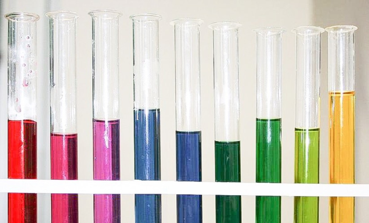 Red cabbage juice colours at different pH values. From left to right, the pH numbers are 1, 3, 5, 7, 8, 9, 10, 11, and 13. The juice looks violet at pH 7, despite its appearance in this photo.