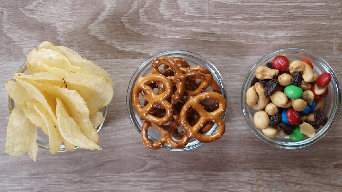 For snacks I ate potato chips, pretzels, and trail mix.