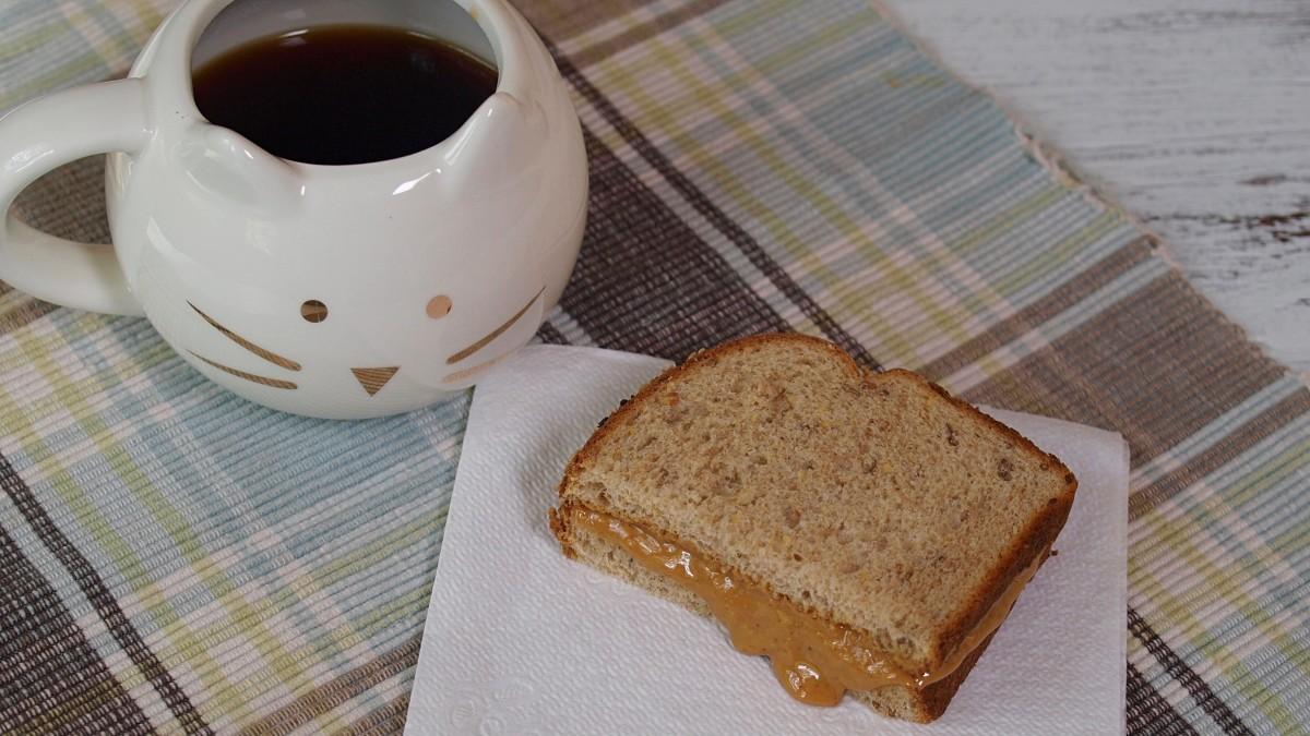For breakfast I had a half of a peanut butter sandwich on whole-grain bread.