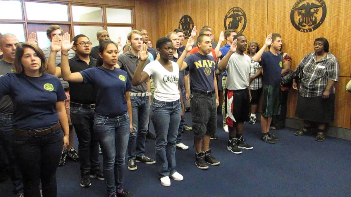 New sailors and soldiers are sworn in at MEPS Jacksonville Florida.