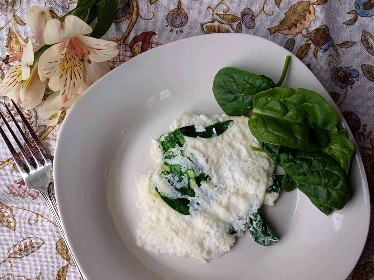 Lunch might be an egg white omelette with spinach.