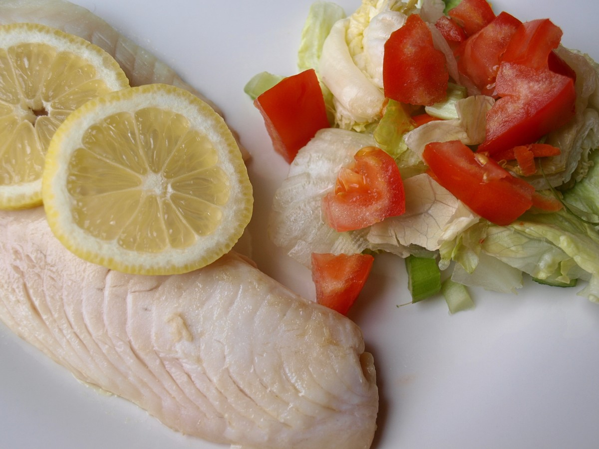 Dinner might be a small pan-fried fish fillet with salad.