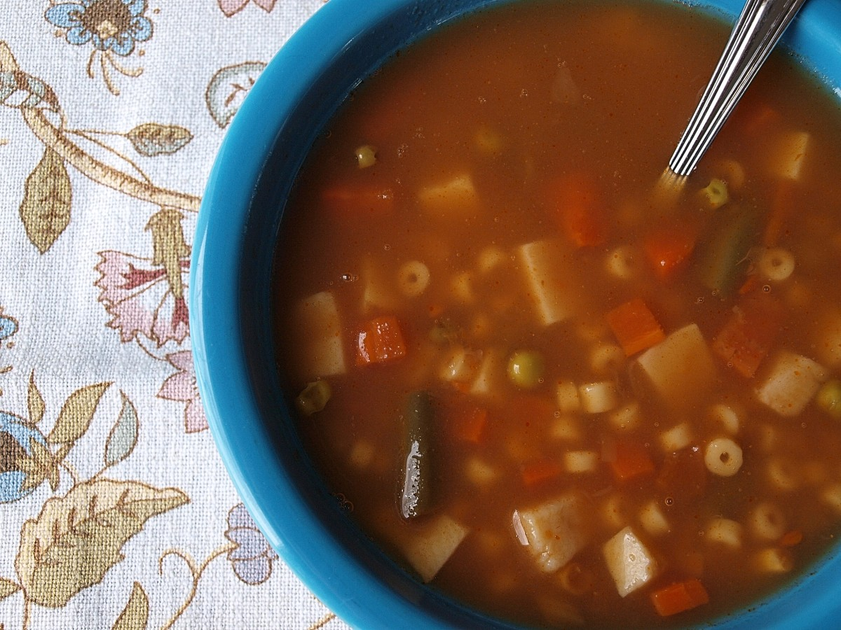 Some days I made vegetable soup for lunch.