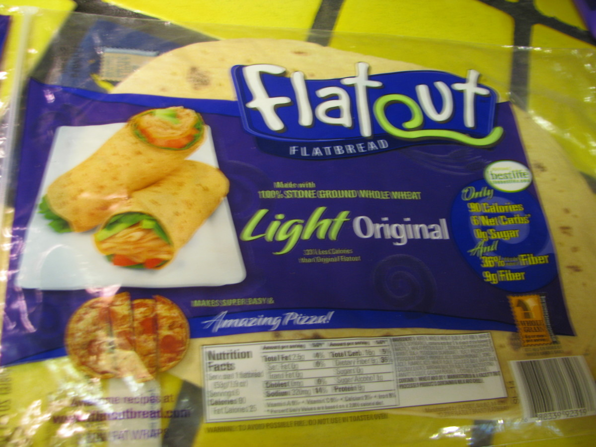 Flatout bread for Skillet Pizza or Tortilla roll ups--very low in calories.