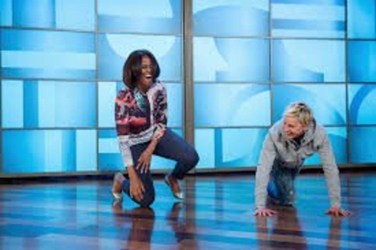 Michelle Obama doing pushups on Ellen