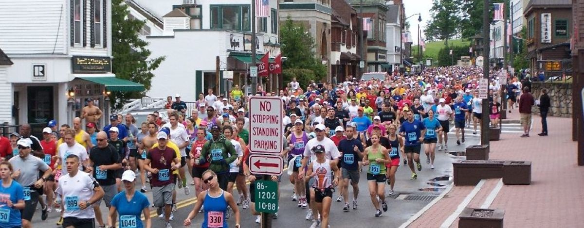 Runners heading through Lake Placid