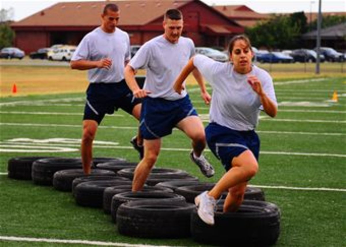 A tire run, the tire-less equivalent of which you'll be doing in your living room during P90X: Plyometrics.