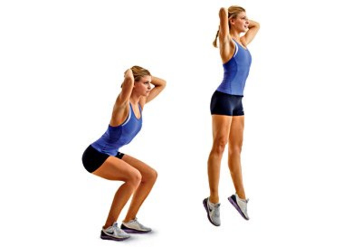 Jump squats: One of the first exercises you'll do during P90X: Plyometrics.