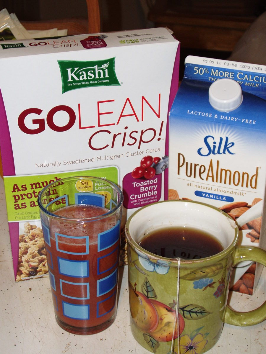 My daily breakfast is cereal with almond milk, fresh juice and black tea.