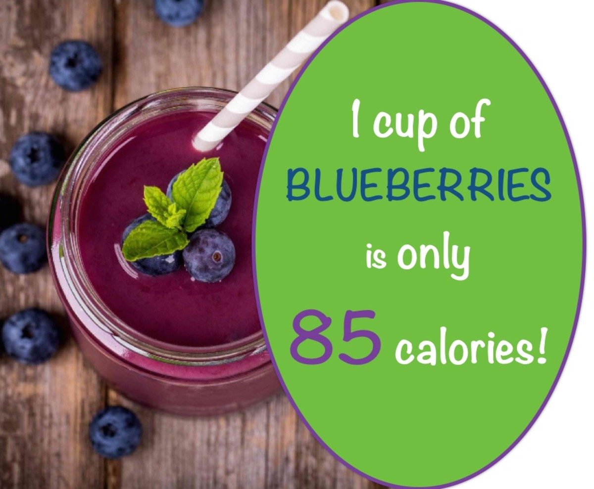 Calories in blueberries: 1 cup = 85 calories!