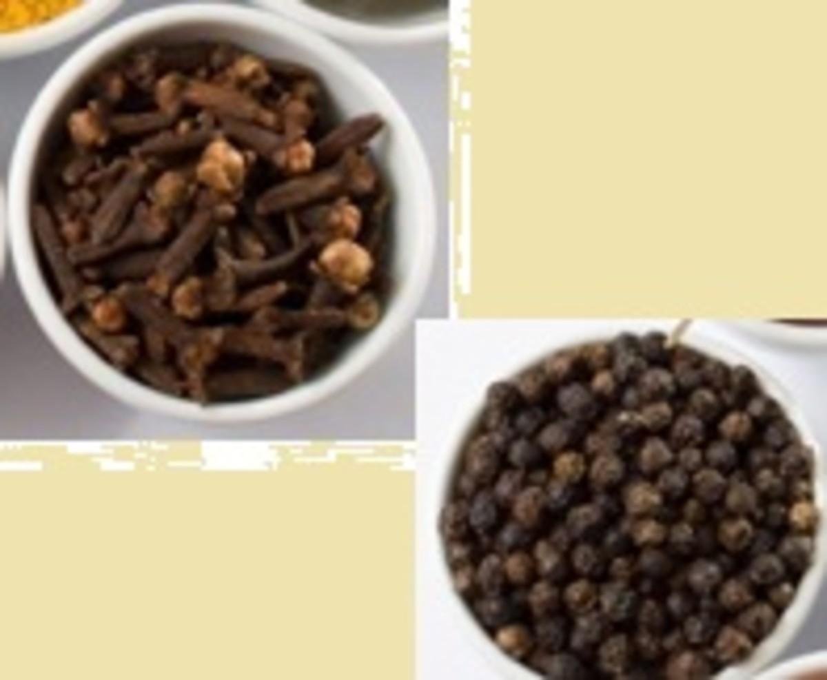 Cloves and pepper corns