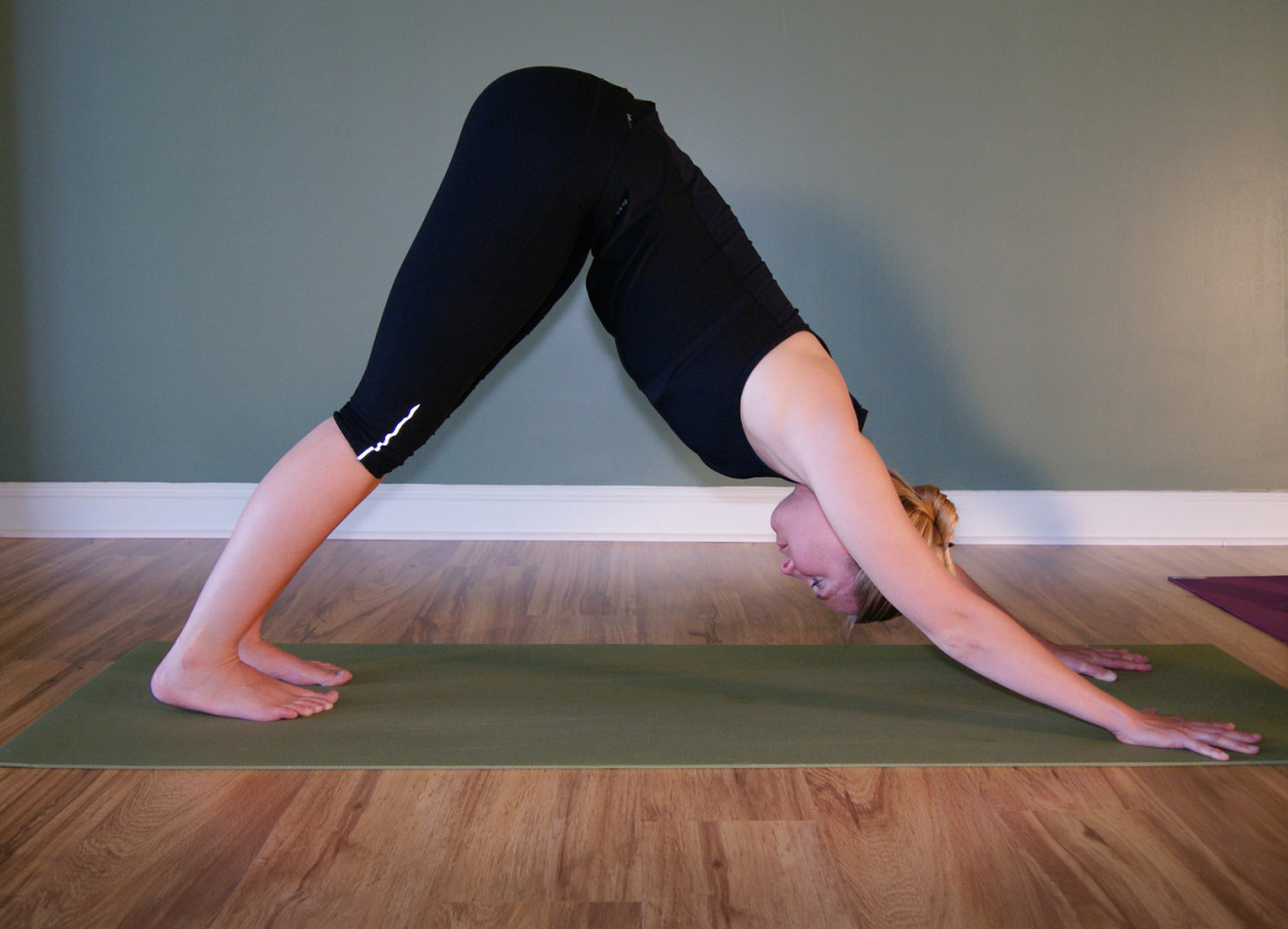 Adho mukha svanasana - downward facing dog.