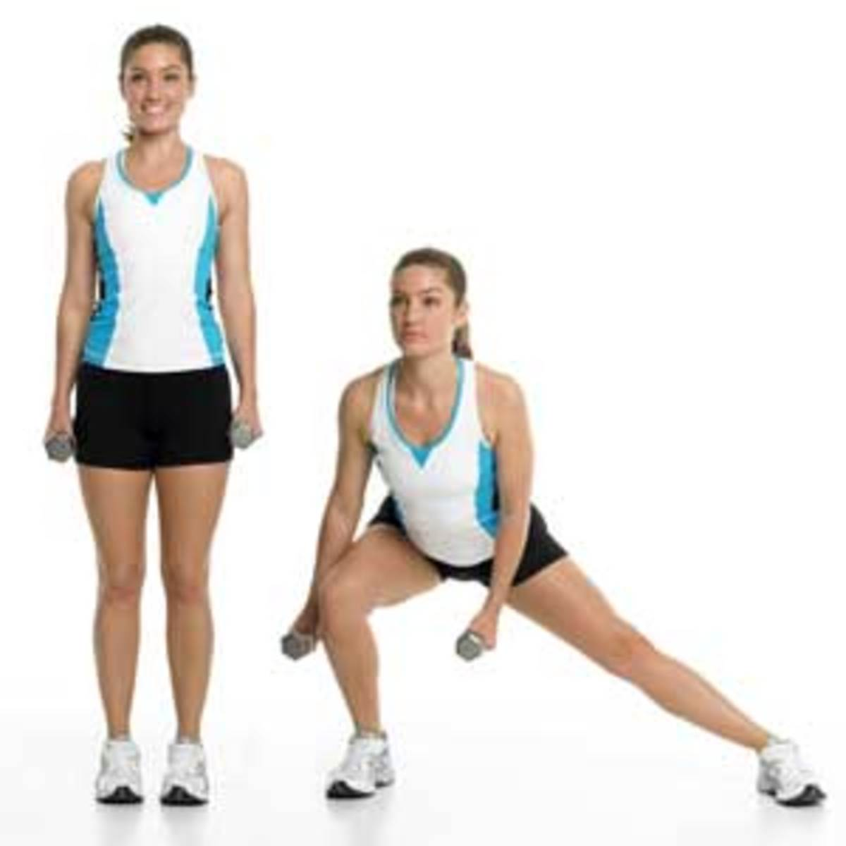 A side lunge, one of the many exercises you'll perform during P90X: Legs and Back.  Go nice and low, but be mindful of your knees if you have patellar tracking problems!