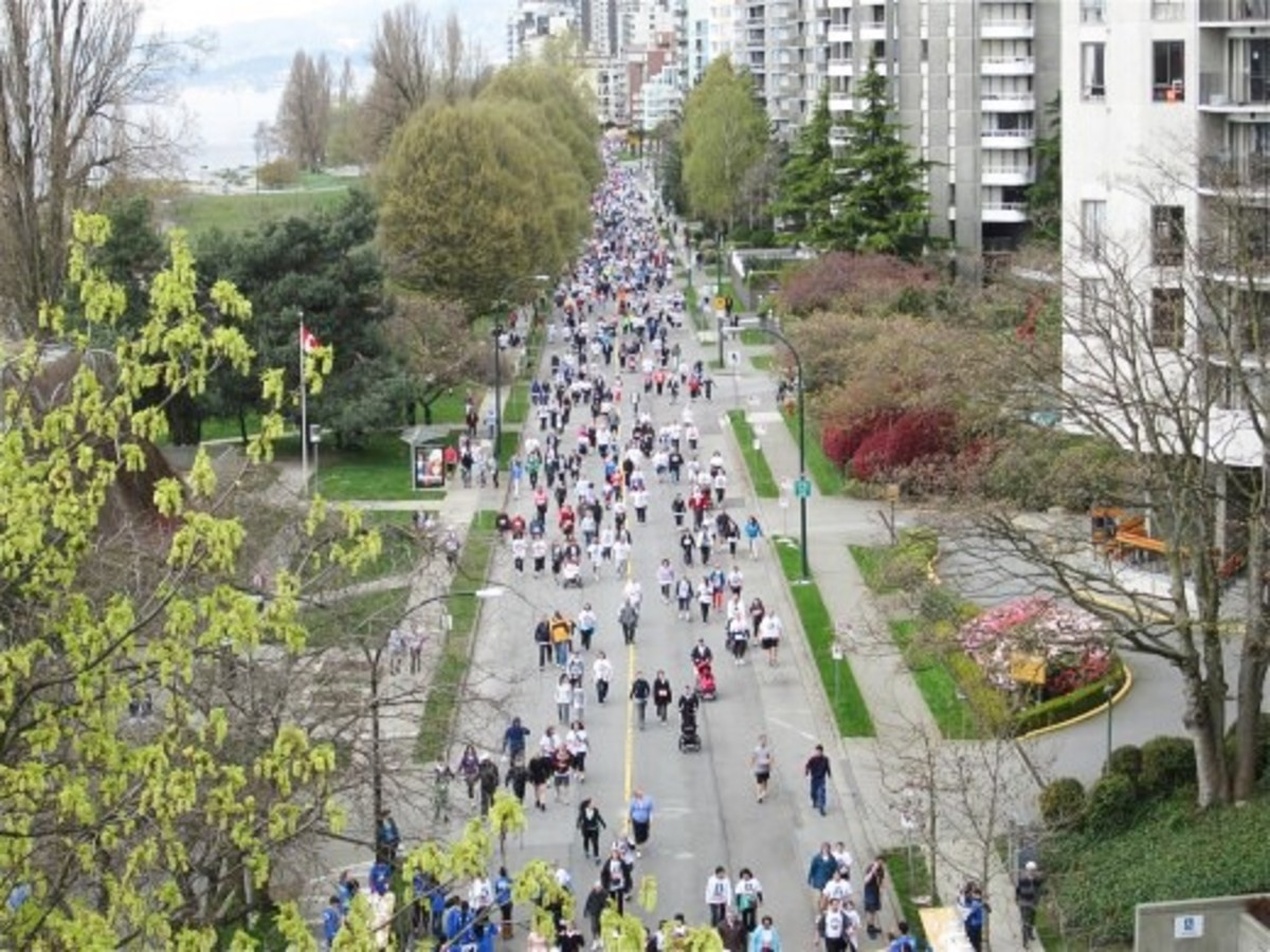 Walkers in the Vancouver Sun Run, a 10km run or walk that can be either competitive or non-competitive, depending on a person's goals.
