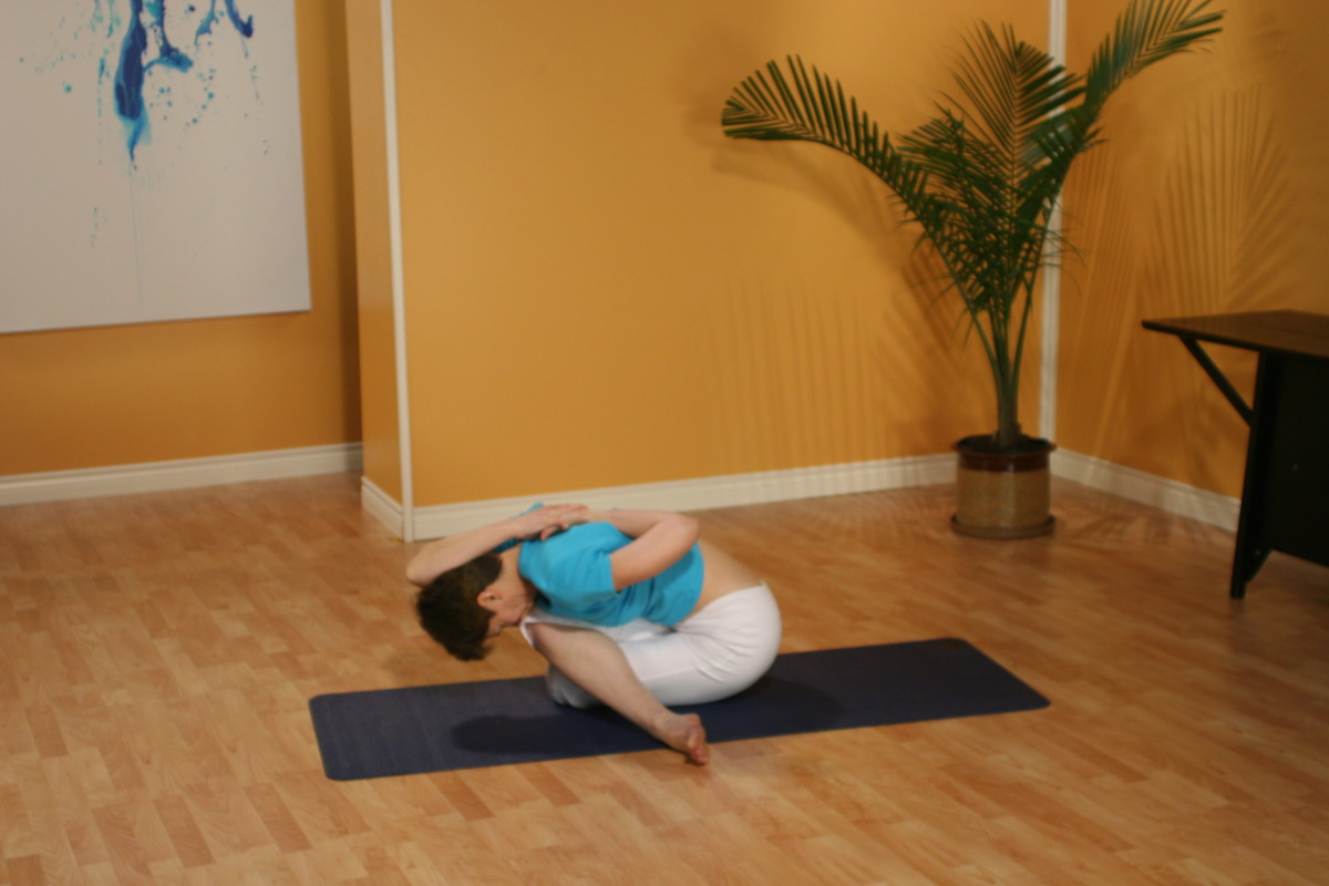 Gomukhasana, or Cow-Faced Posture, is a deep stretch for the gluteals, the Sartorius muscles, and the Iliotibial band (IT band).