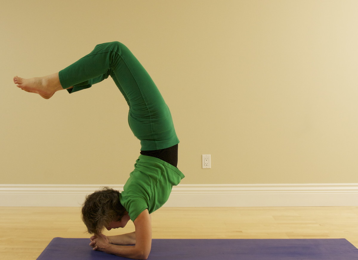 For Vrischikasana Scorpion from Headstand, bend the knees and drop the feet toward the back body as you lift the head and look forward.  To come out, plant the head in the hands again first, then straighten the legs.