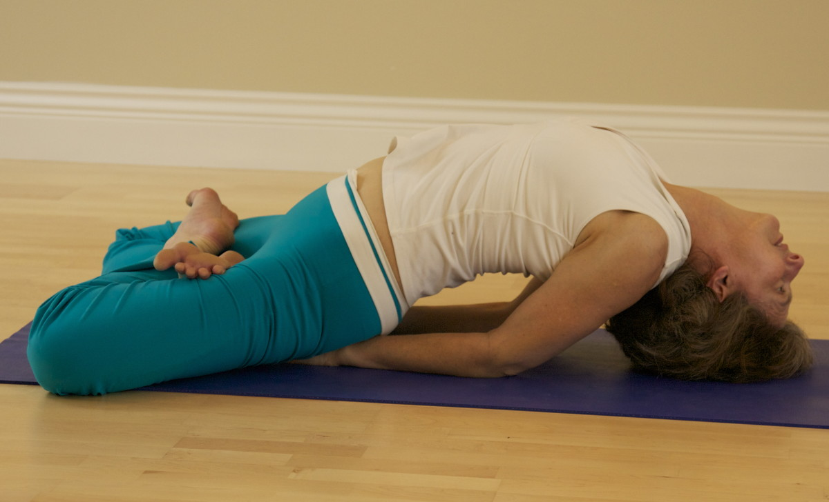 This variation of Fish Matsyasana has the legs folded in Lotus position.  Usually the legs are straight, with the heels together and the feet relaxing open to the sides.  Practice Shoulder Stand as the counter pose to Fish.
