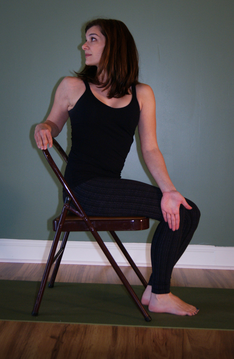 Bharadvajasana with a Chair