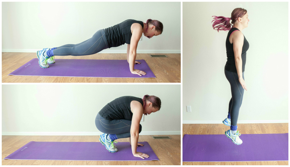 The burpee combines a pushup, plank, squat, and, finally, a jump.