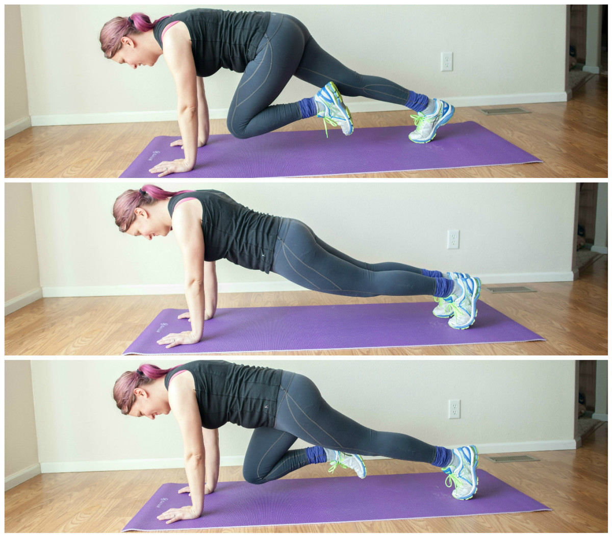The back-and-forth mountain climber exercise is great cardio!