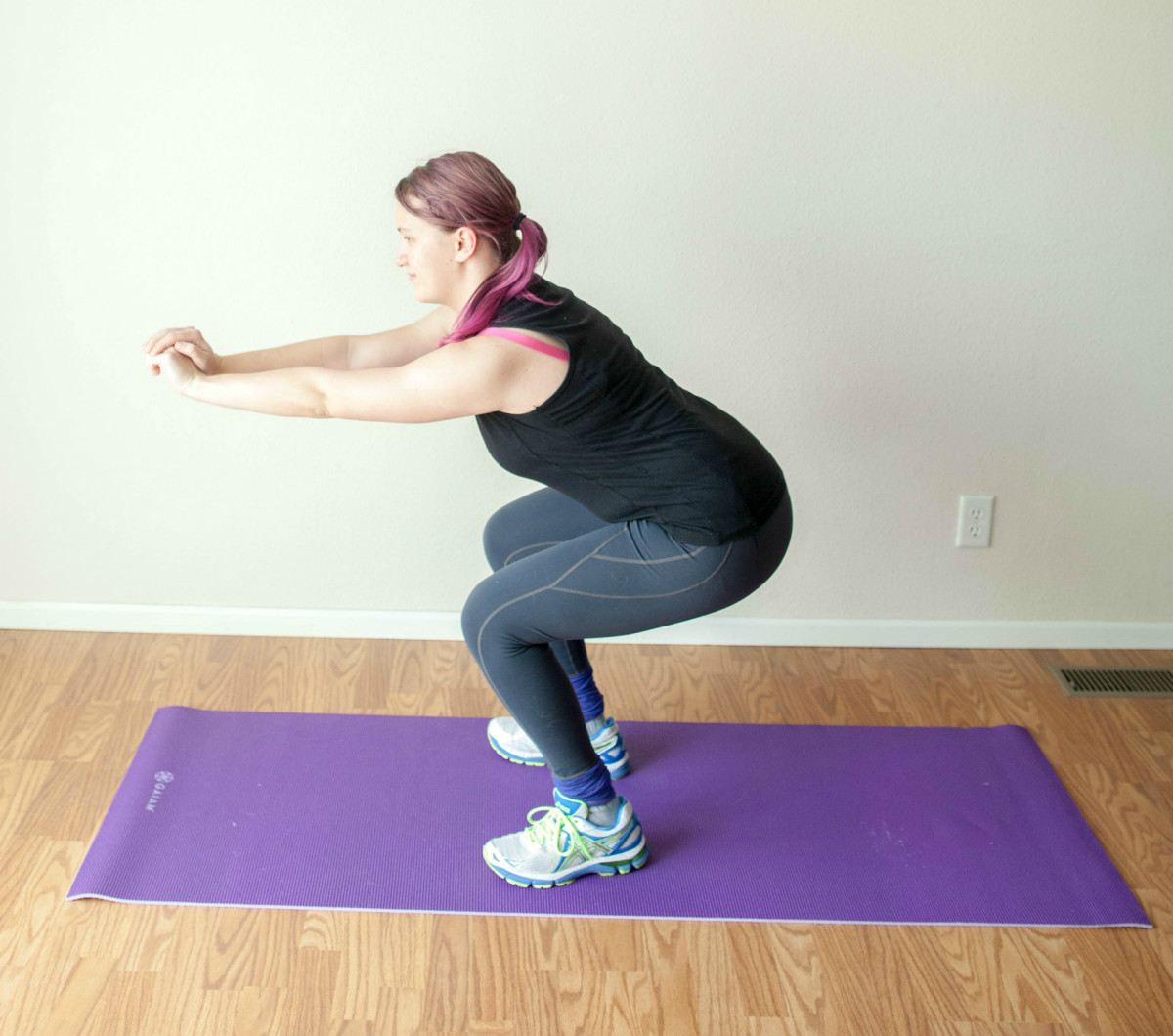 Start with your feet shoulder's distance apart and bend your knees. Keep your back straight!