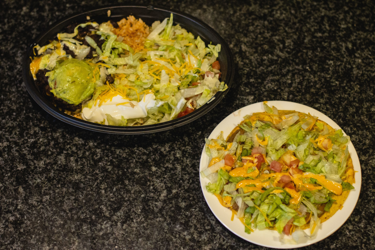 A power bowl and a spicy tostada, two gluten-free entrees at Taco Bell.