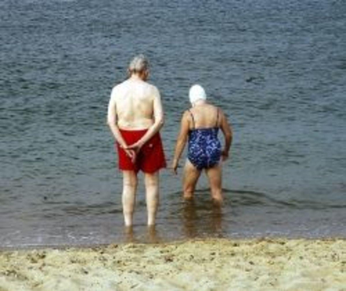 Elderly people swimming