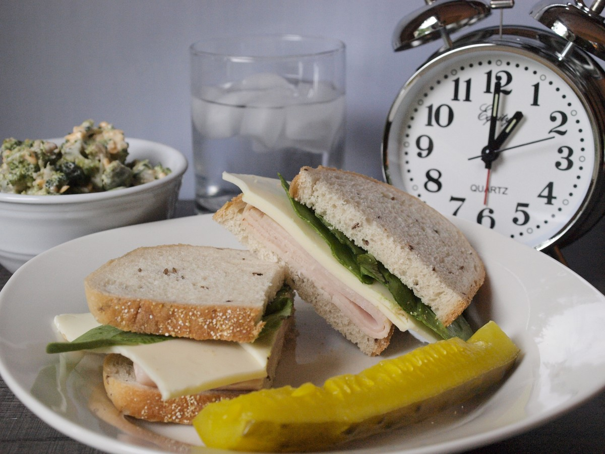 Lunch should be satisfying and include lean proteins and plenty of vegetables. Make sure you're eating at a time approximately between your first meal and the end of the 8-hour window.