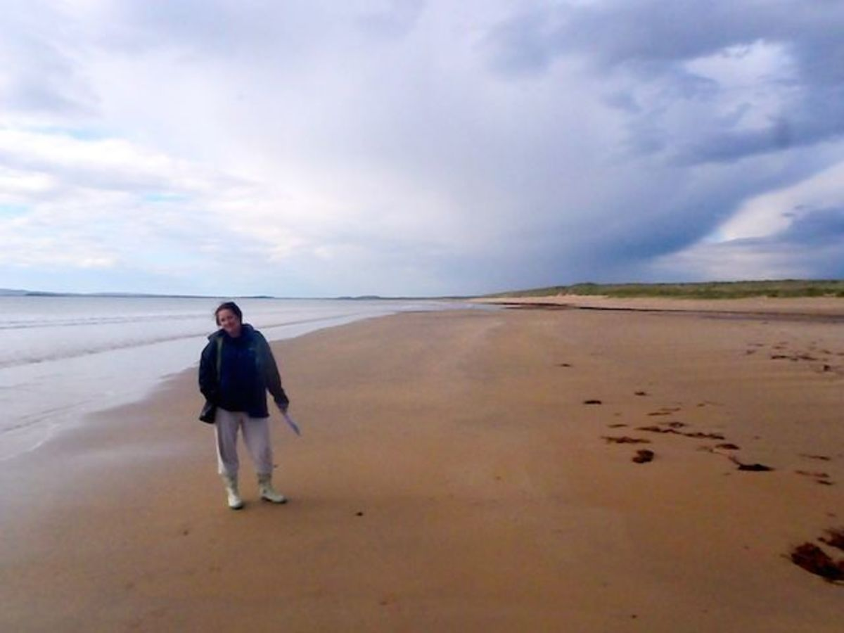 This is me walking on a beautiful beach in Scotland.