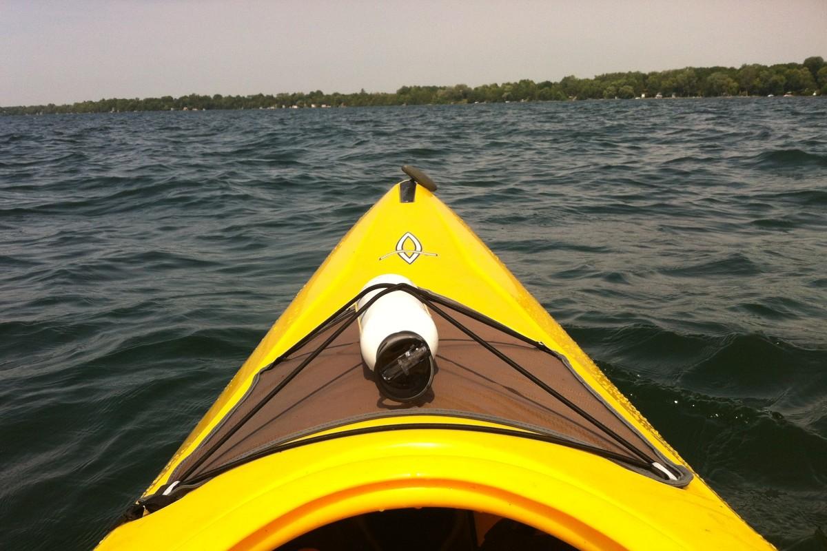 Kayaking on a local lake.