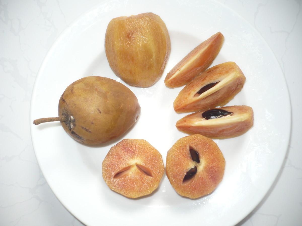 Sliced chikoo fruit