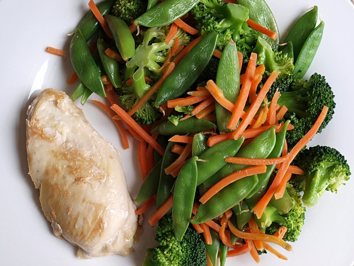 Half a chicken breast and stir-fried vegetables for a 200-calorie fasting day dinner.