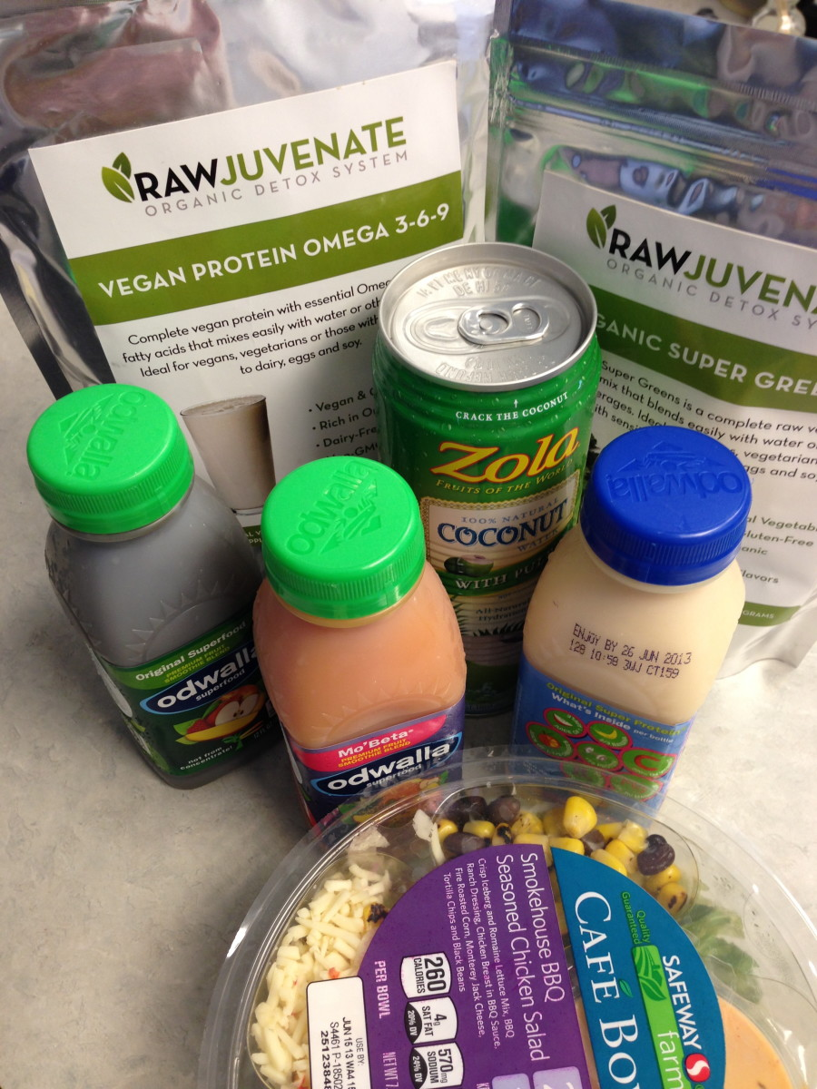 Being a working girl, I often find myself short on time to prepare meals so on those days, I just stop by the grocery and buy coconut juice and three different juices to mix with Raw Green Detox powders, and a salad so I'm set for the work day