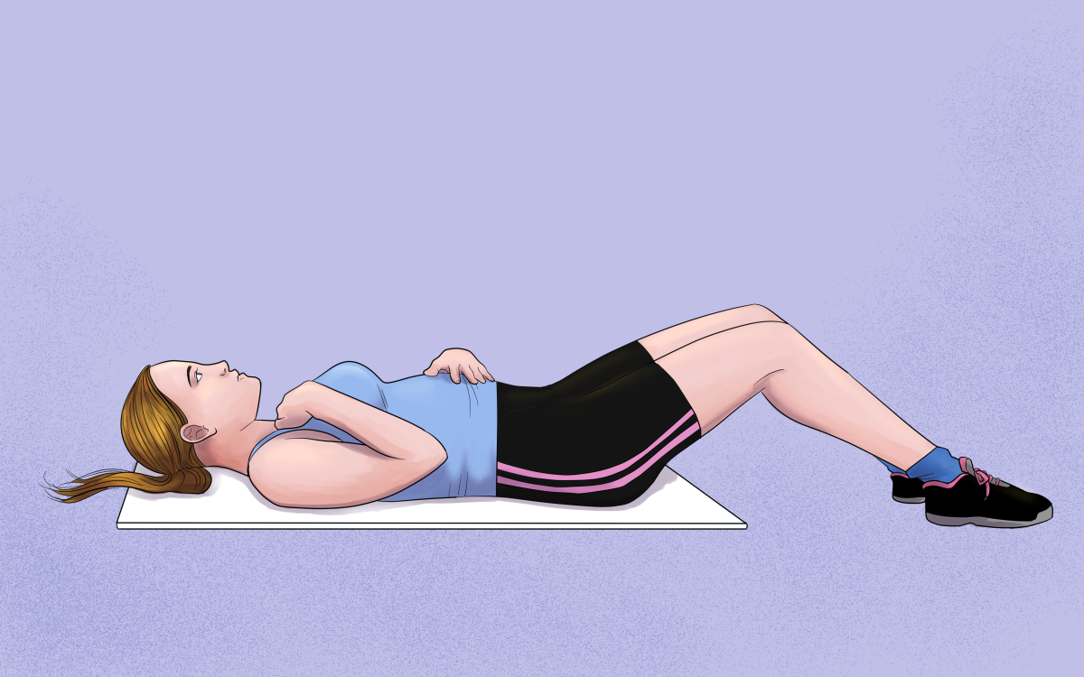 Practice breathing from your diaphragm by lying on your back with one hand on your belly and the other on your chest. When you inhale, your belly should rise as it fills with air and your chest should remain relatively still.