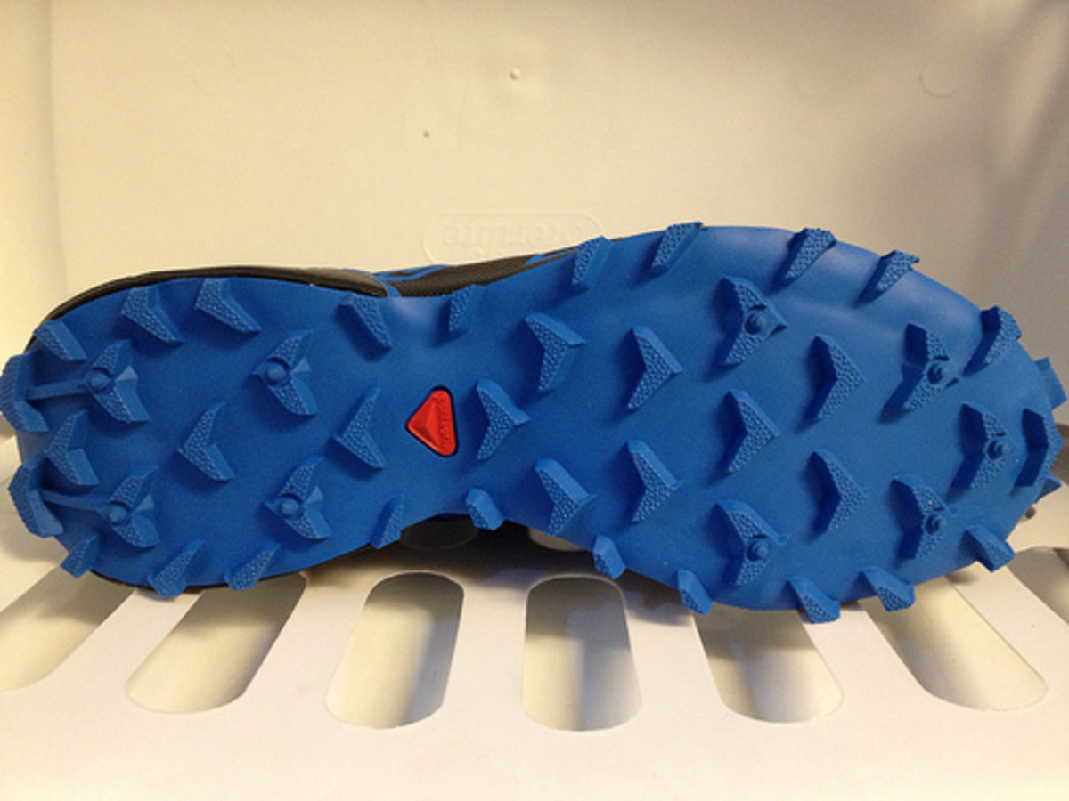 The mud shedding tread pattern of the Speedcross 3 from Salomon